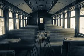 老火车内部特写