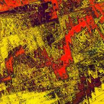 抽象画-颤抖的红与金