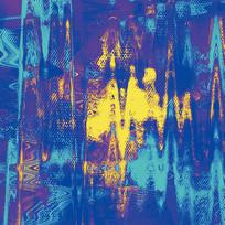 抽象画-跳动的蓝与金