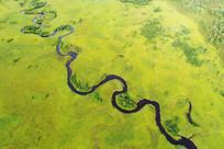 航拍森林曲水哈乌尔河