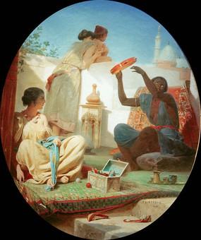 露台上的阿拉伯女人油画