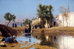 取水的女人油画