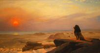 日出时的狮子油画
