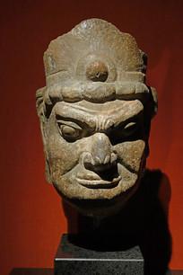 唐代天王石雕头像