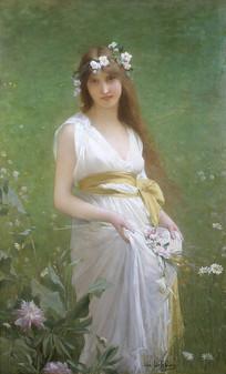 春天的少女油画
