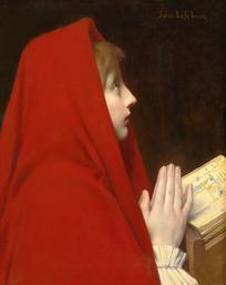 红衣少女油画