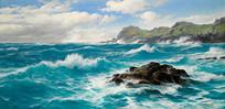 康沃尔海岸的海浪油画