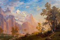 西部惠特尼山景观油画