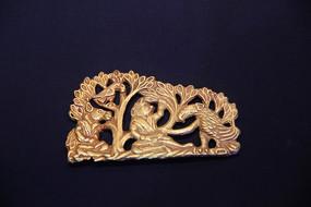 汉代丛林狮子老鹰金饰件