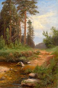 红松林旁的小溪油画