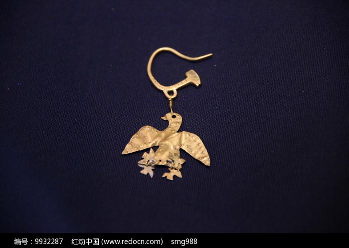 鸟形金耳坠汉代图片
