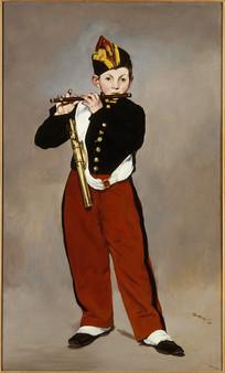 吹短笛的男孩画作