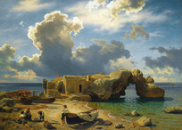 卡普里湾码头油画