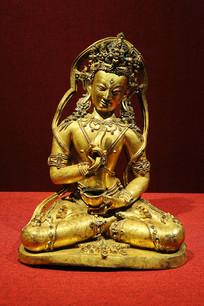 帝洛巴嵌松石鎏金铜像1西藏
