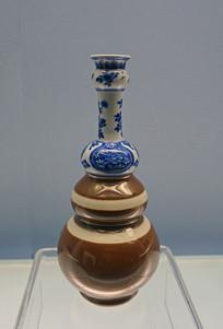 酱色釉青花如意花卉纹葫芦瓶
