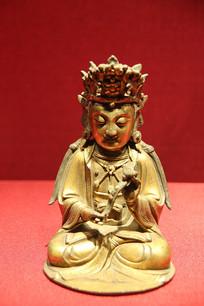 明代铜鎏金文殊菩萨像