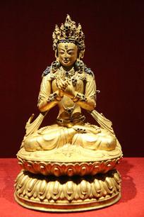 菩萨像红铜鎏金嵌松石西藏