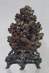 寿山石雕凤凰牡丹瓶清代
