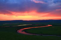 中俄界河额尔古纳河暮色