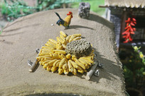 屋顶玉米大公鸡微缩景观