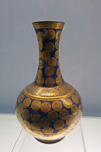 清代蓝地金彩团花纹瓶
