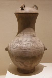几何虎纹陶壶