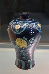 明清仿珐华釉折枝花卉纹瓶