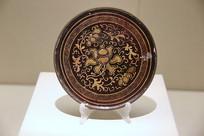 清代漆背描金花卉纹镜铜镜