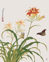 余挚花与蝴蝶图