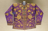 维吾尔平金绣花卉纹紫绒对襟袄