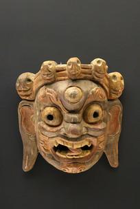 西藏藏族木雕护法面具
