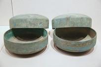 青铜钵带盖汉代