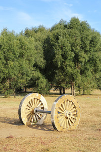 绿树前的马车轮