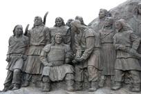 蒙古将士端奶茶雕像