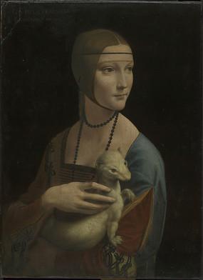 达芬奇油画-抱银貂的女人