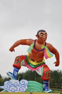 蒙古摔跤手充气人像