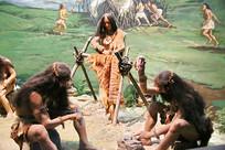 原始人家庭生活蜡像