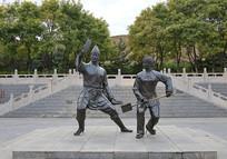 戏曲人物夫妻雕像