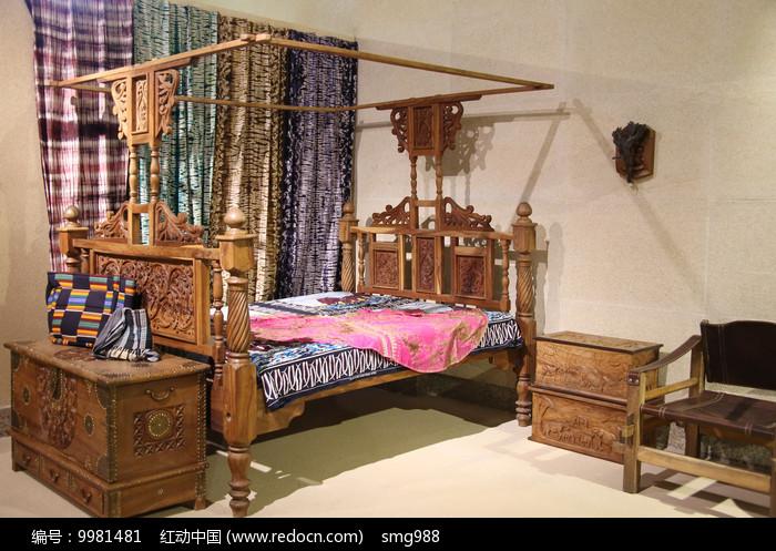 非洲木雕卧室家具图片