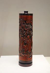 清代竹雕生生如意图香筒