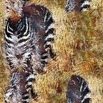 斑马抽象油画