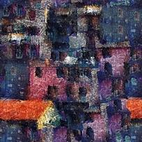 抽象房子油画
