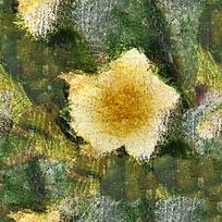 抽象黄色花朵特写油画
