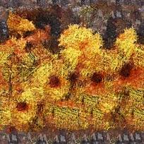 抽象向日葵油画