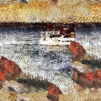 水墨风格河流船只图片素材