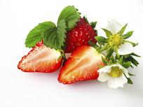 带花新鲜草莓