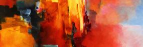 客房床头抽象油画