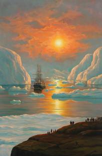 世界名画-格陵兰峡湾的霞光