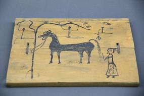 汉代木板画马和主人