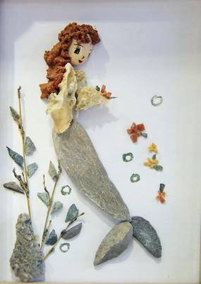 石头画美人鱼